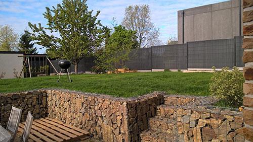 mur de gabion jardin pelouse