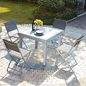 table de jardin en verre extensible