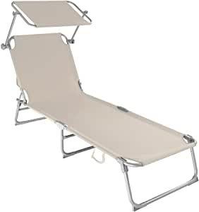 tectake chaise longue avec toit pour le soleil