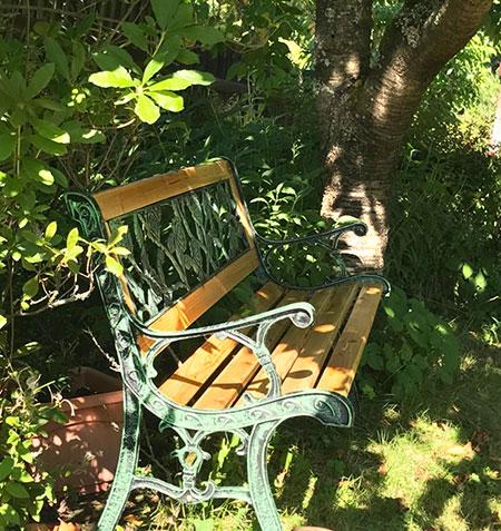 banc extérieur en bois et fer