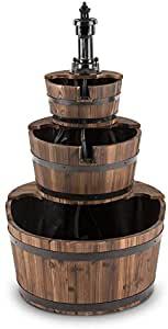 fontaine de jardin en bois style tonneau