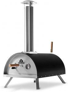 four à pizza extérieur au feu de bois en acier inoxydable