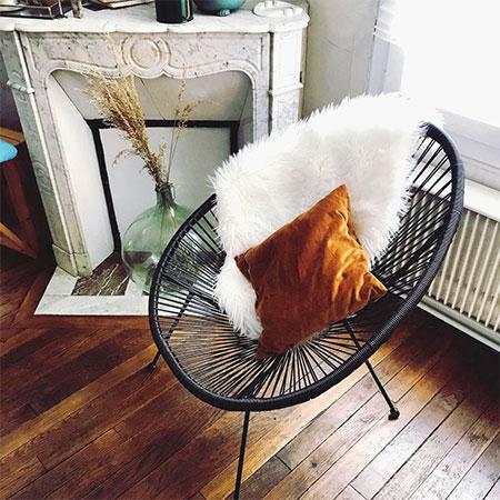 fauteuil avec couverture d'hiver