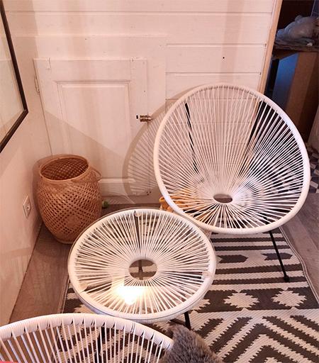 fauteuil et chaise acapulco beige