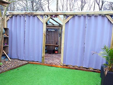 rideau pour terrasse extérieur de couleur gris