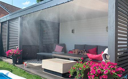brume légère humide sur terrasse